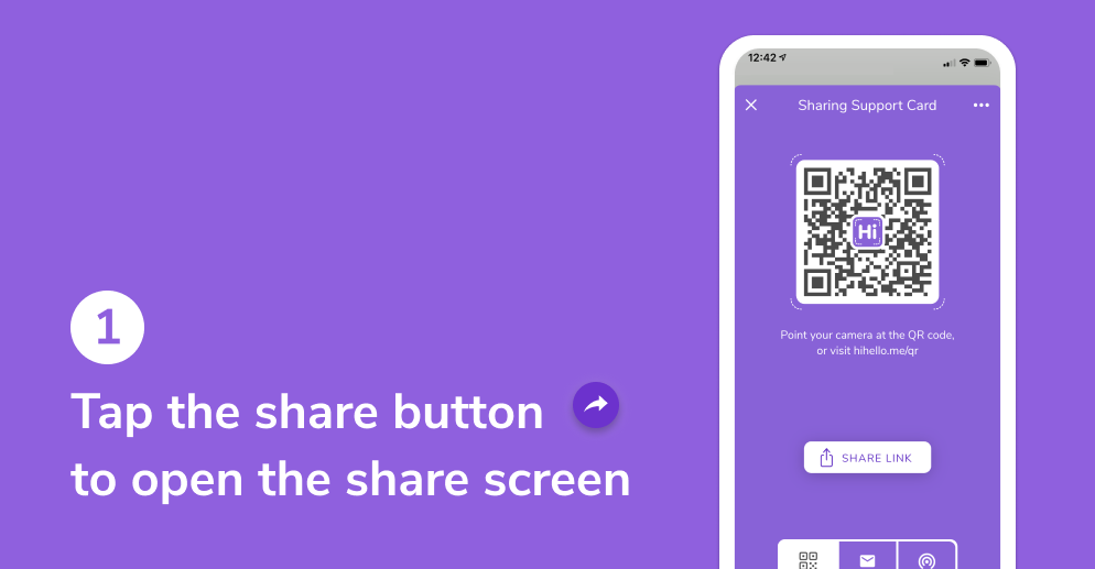 Tap the QR button to open the share screen