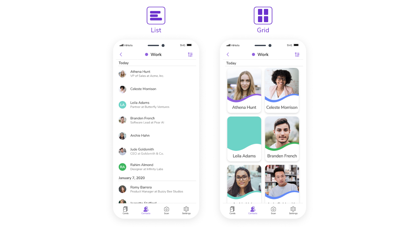 Left: List view of your HiHello contacts. Right: Grid view of your HiHello contacts.