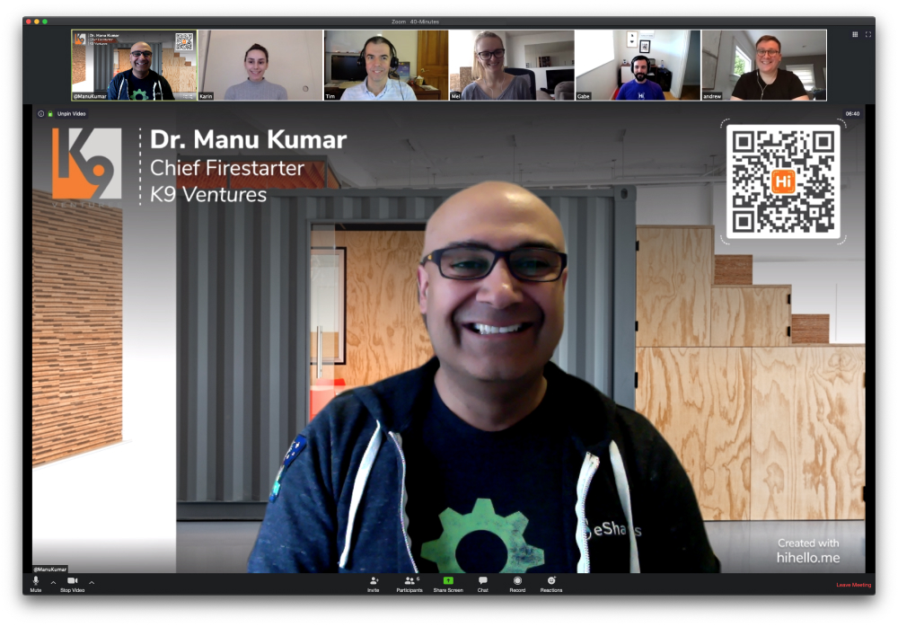 HiHello Co-founder and CEO Dr. Manu Kumar using a HiHello virtual background during a Zoom meeting.
