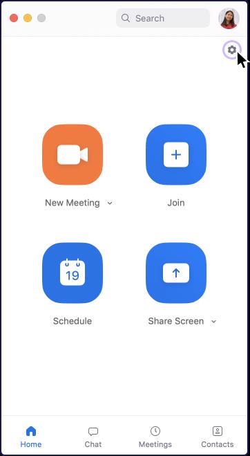 Zoom app settings icon