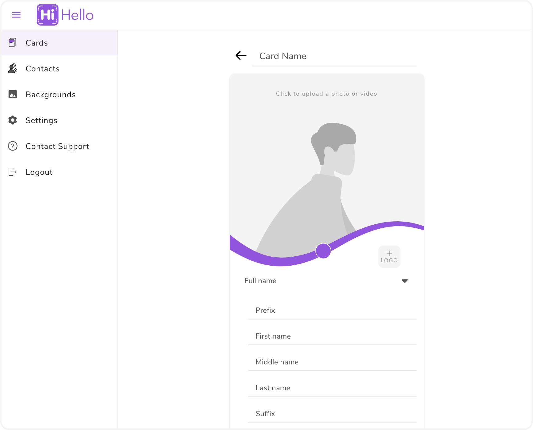 Create a digital business card screen on the HiHello web app.