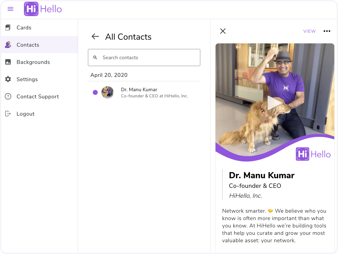 View and edit your contacts in the HiHello web app.