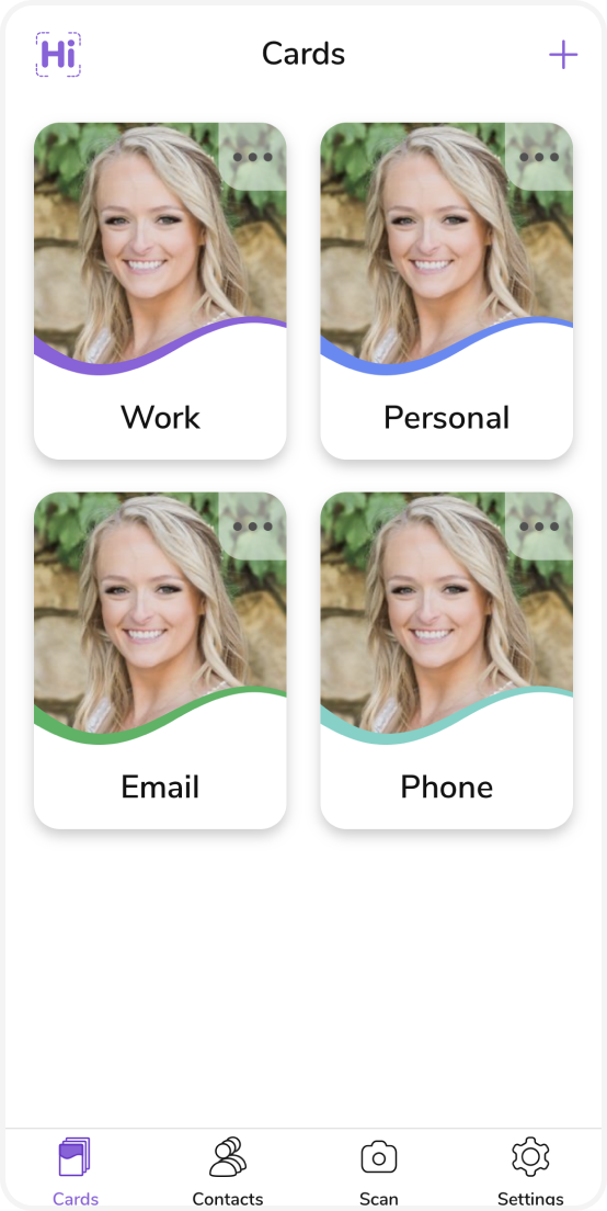 Four digital business cards have been created for you.