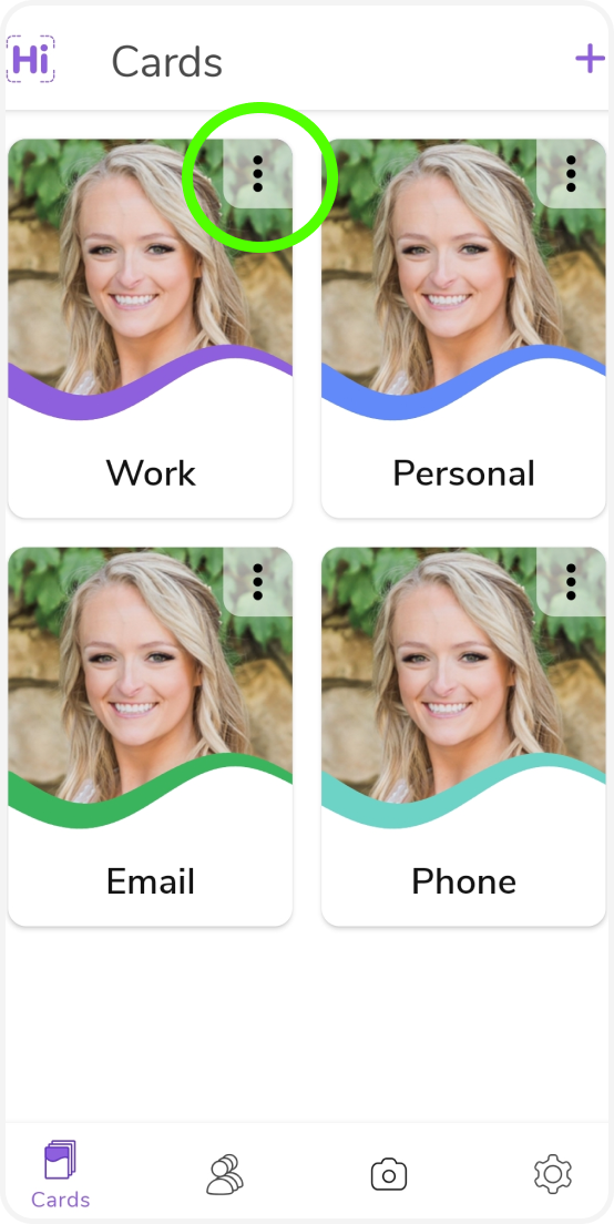Pick which digital business card you want to edit by tapping the three dots.