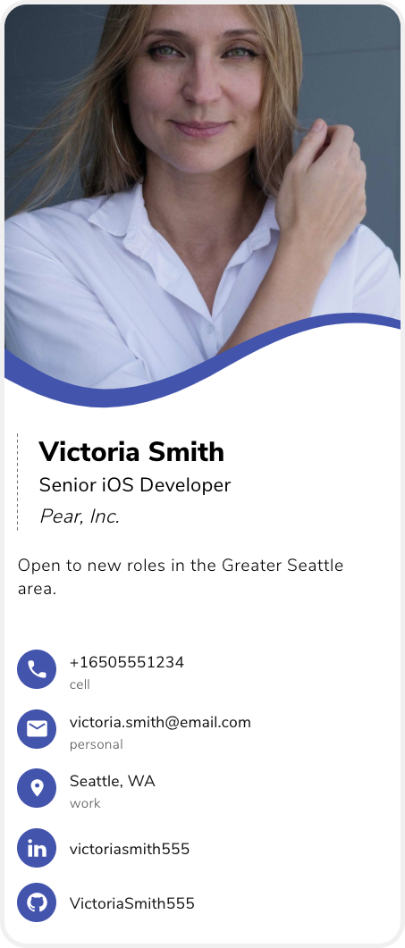 example of a business card for engineers, engineering business card example, digital business card example