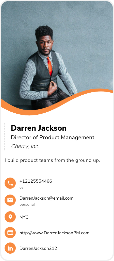 Example of a business card for product managers, product manager business card example, digital business card example