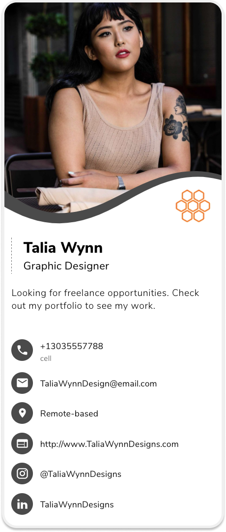 designer business card example, example of a business card for designers, digital business card example