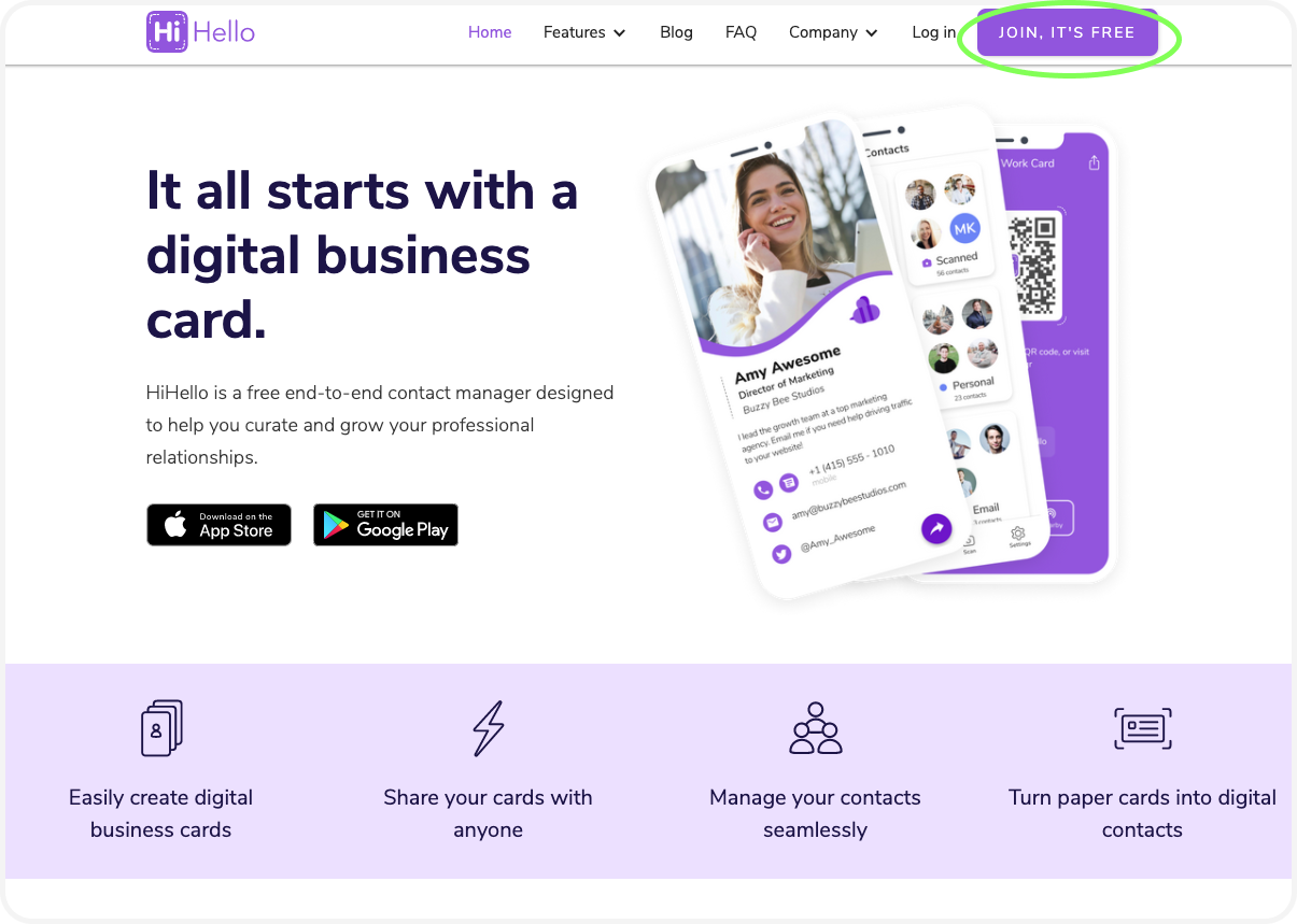 Make a free digital business card on your computer with the HiHello website