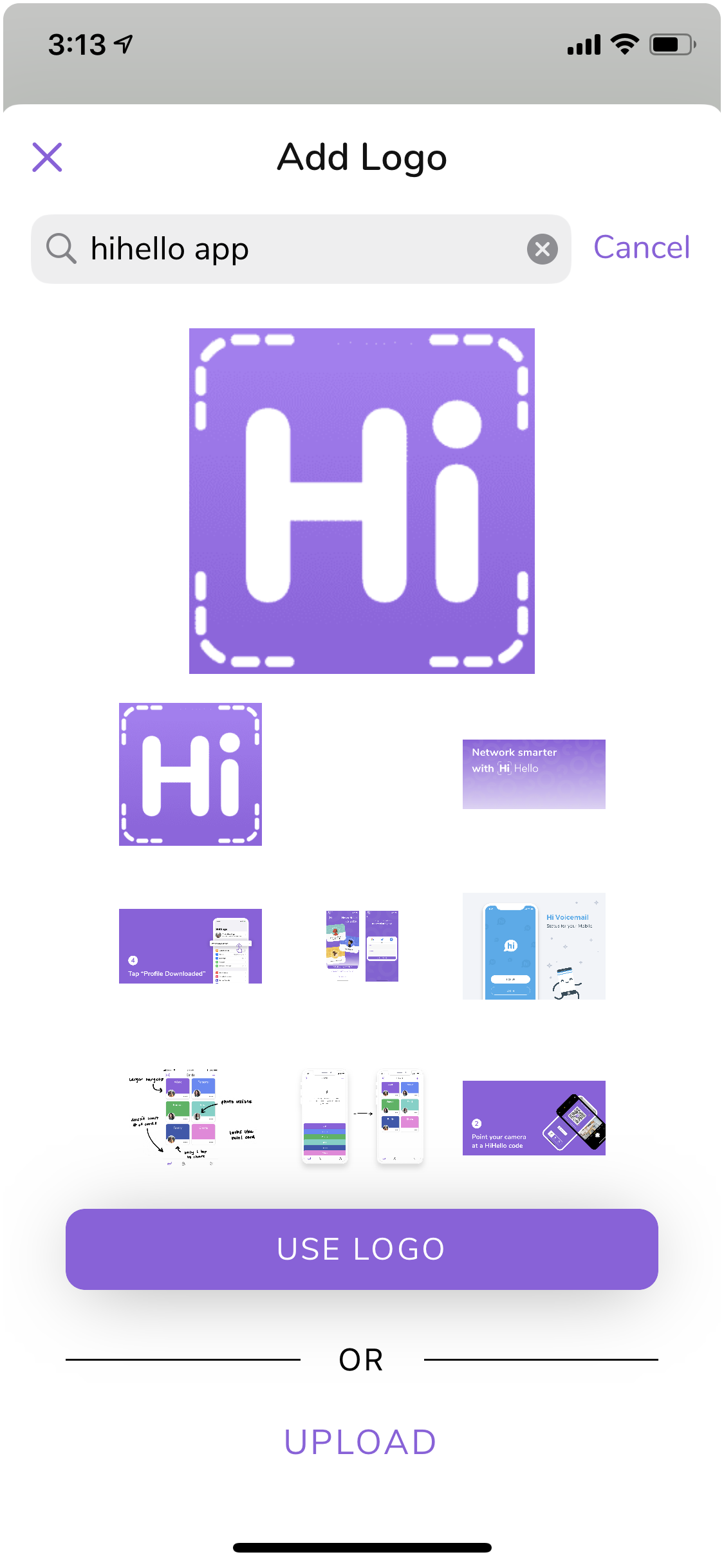 HiHello company logo search for digital business cards.