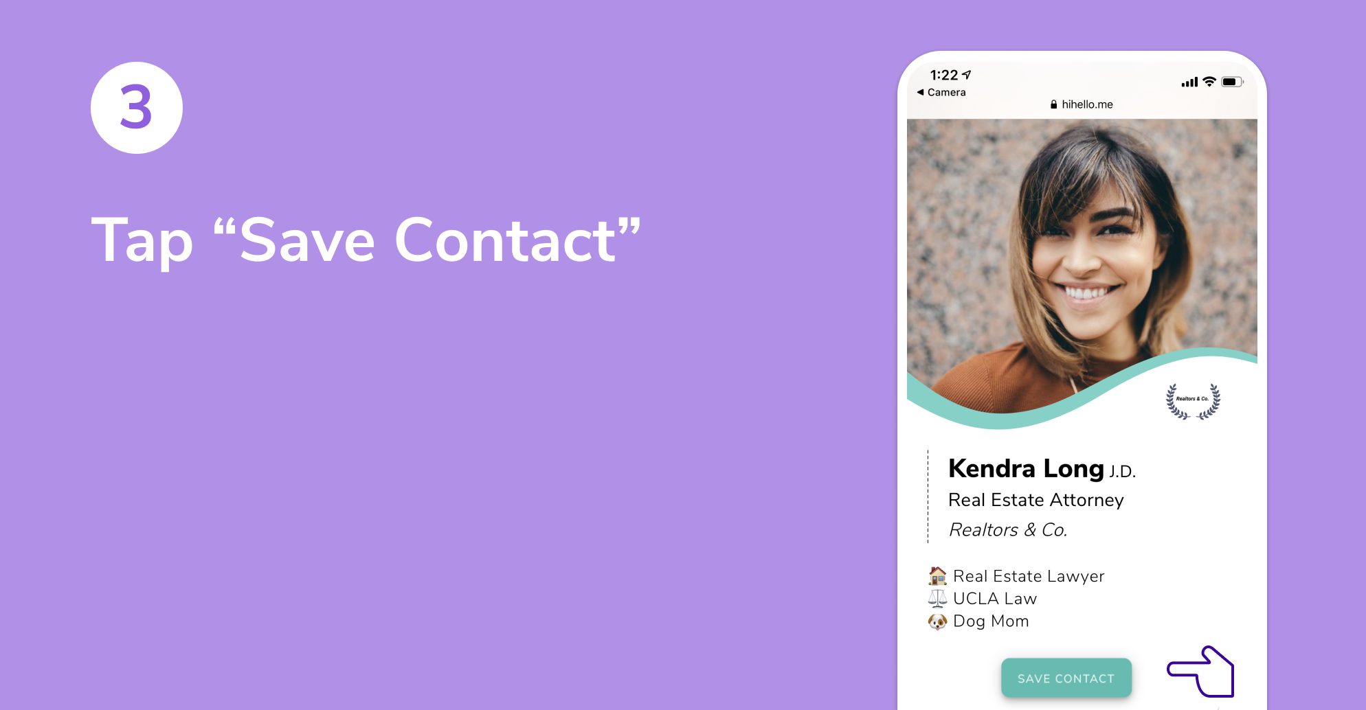 """A HiHello digital business card with a button that says """"Save Contact"""""""