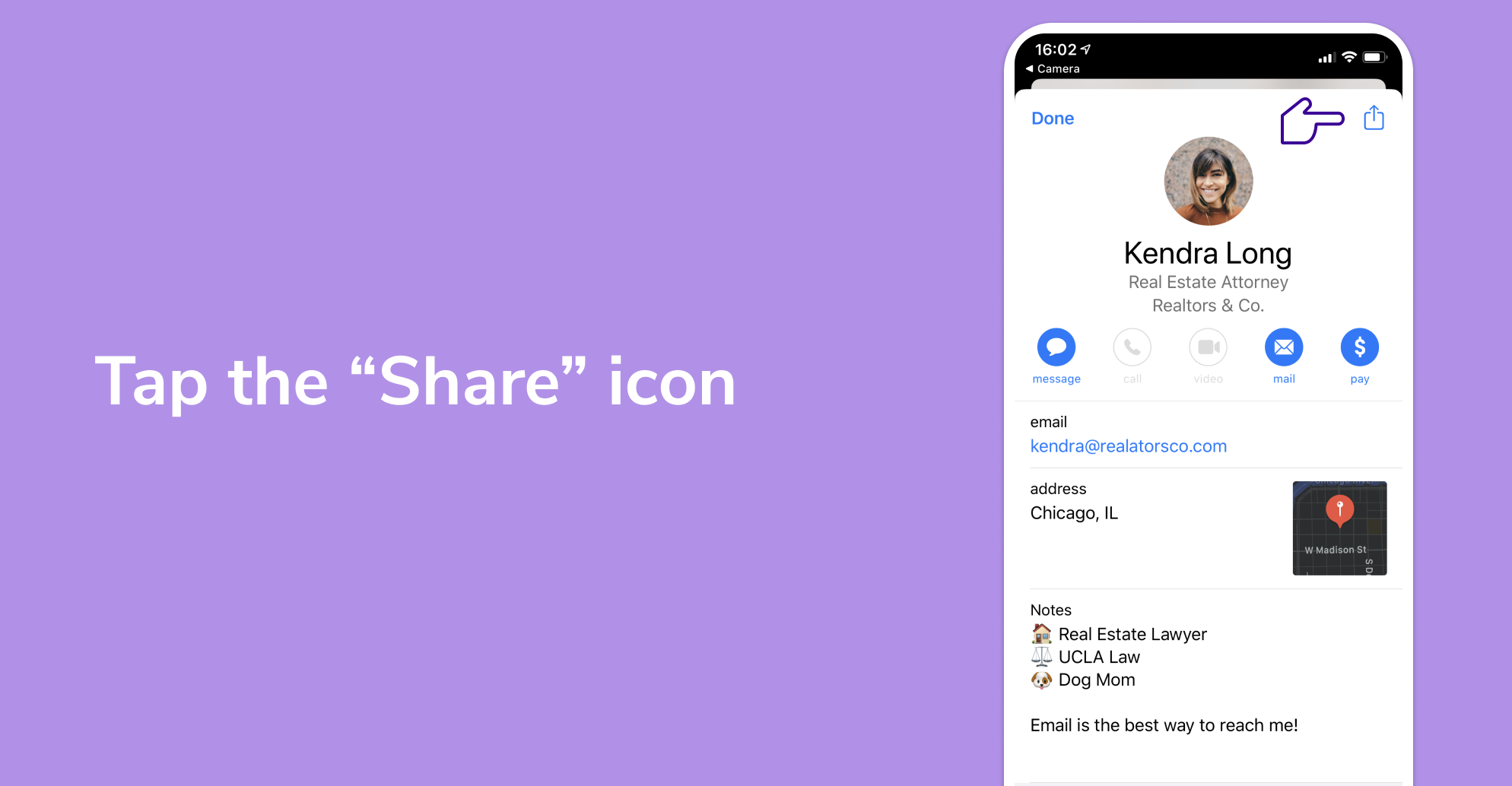 To save a card as a .vcf, tap the share icon on the top right of your phone's screen.
