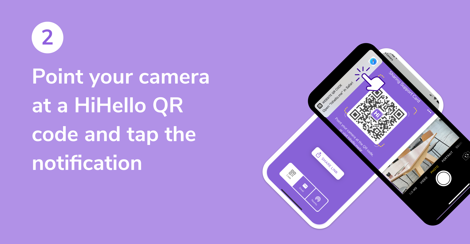 The native Camera app scanning a HiHello QR code on another phone