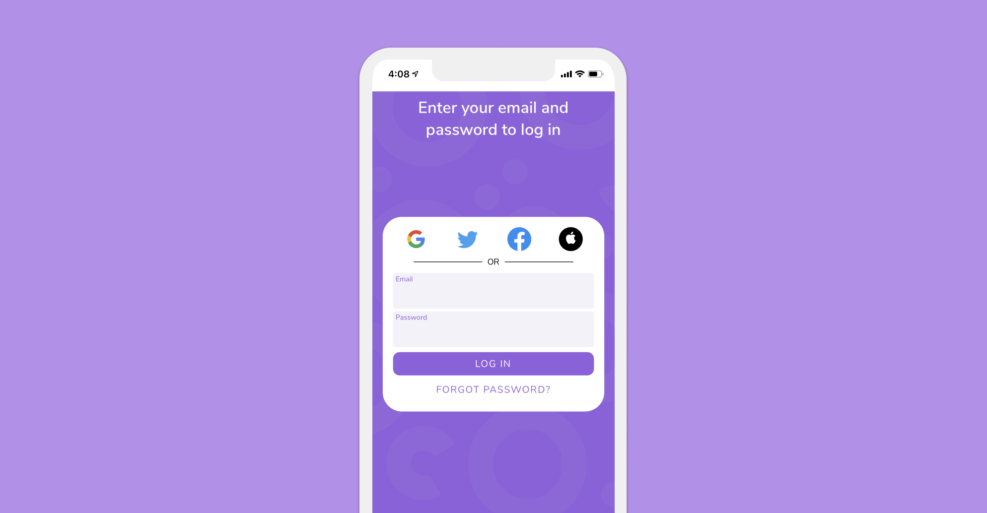 Open up the HiHello: Digital Business Cards and Contact Manager app and log in.