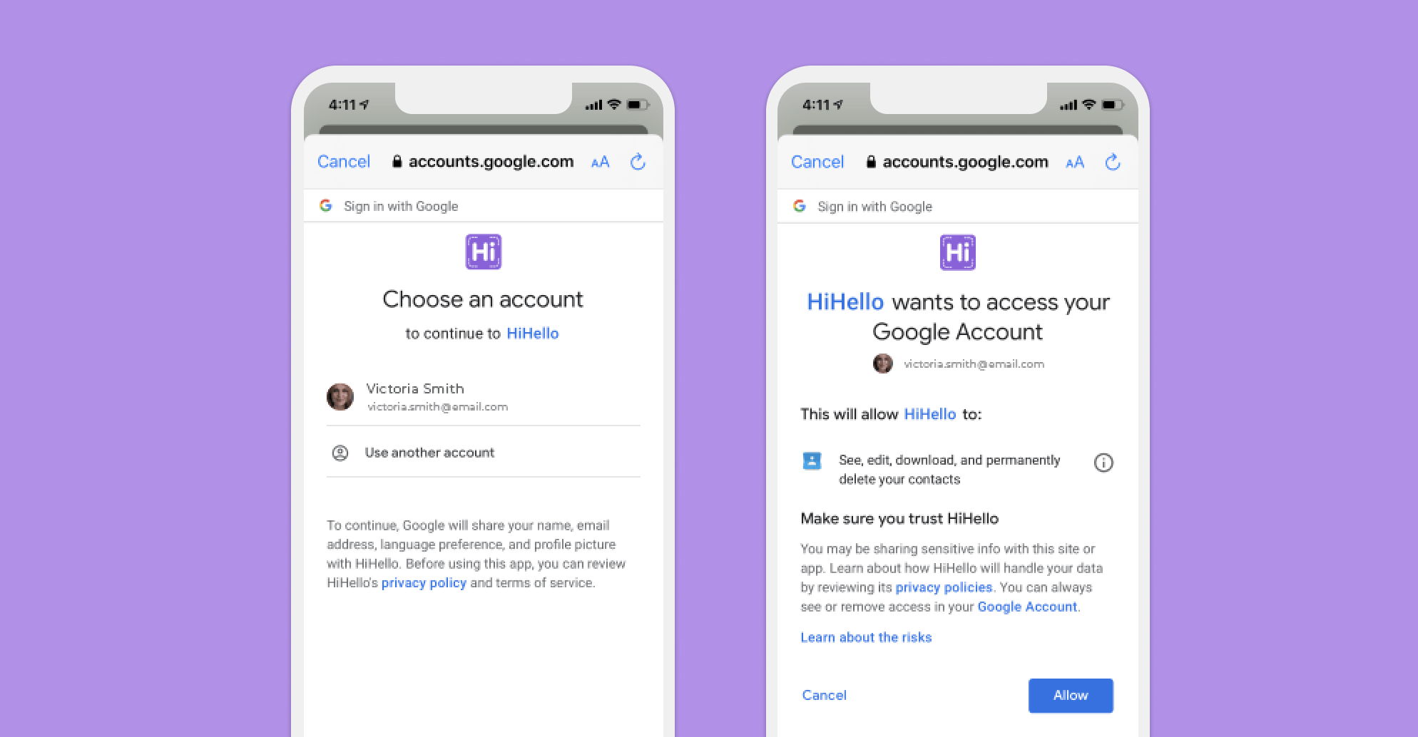 Choose which Google account you want to sync with HiHello.