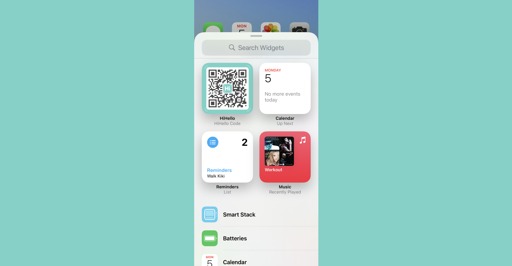 Scroll down until you see the HiHello digital business card QR code widget.