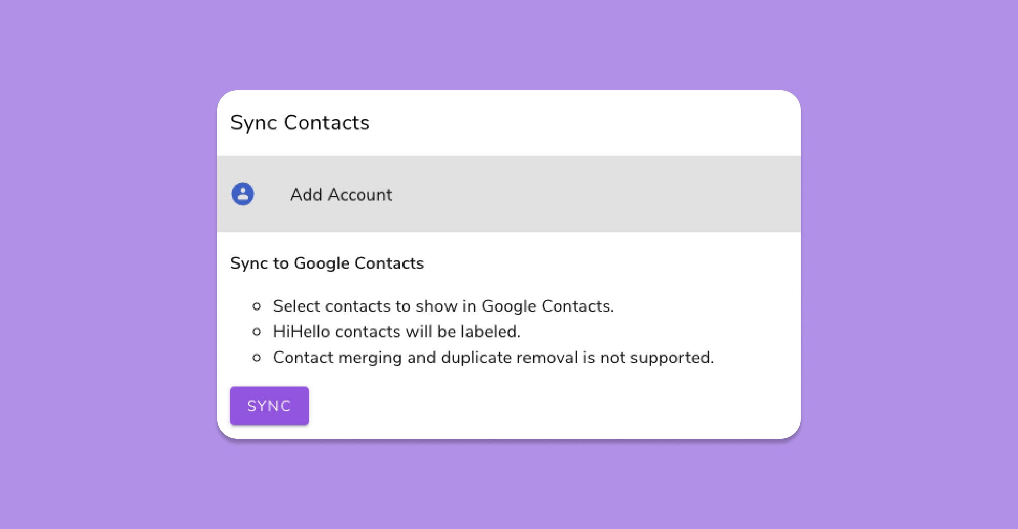 Next, click Sync to start syncing your Google Contacts with HiHello.
