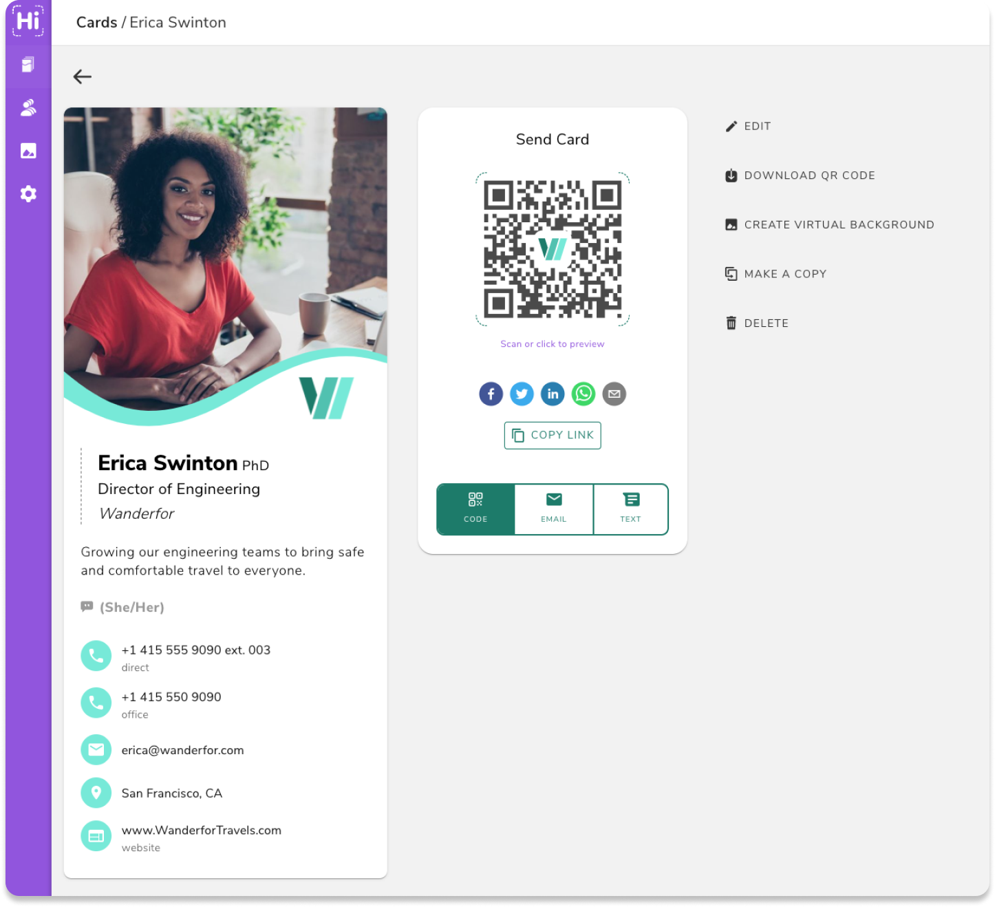 The HiHello virtual business card web app allows you to access your business cards from your desktop.