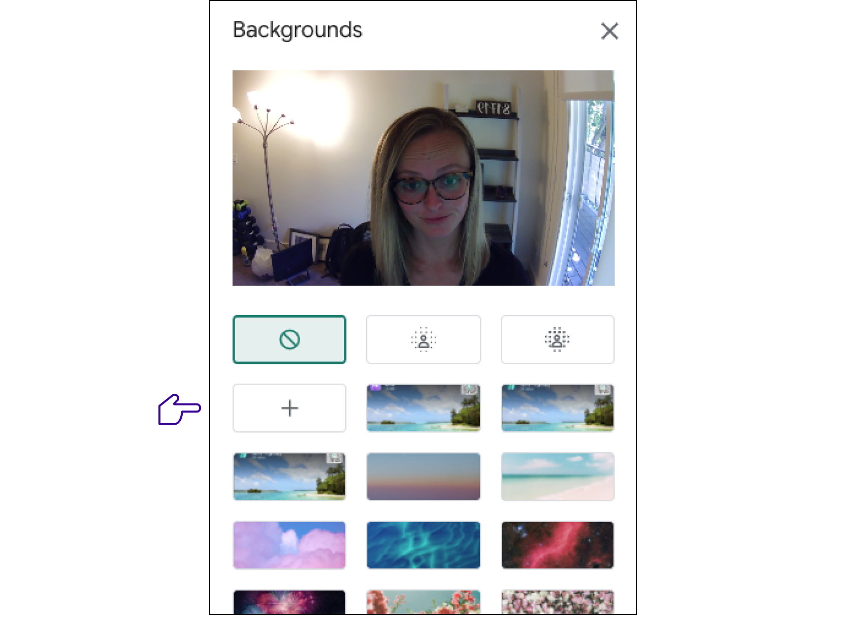 Click the plus sign to upload a virtual background to Google Meet