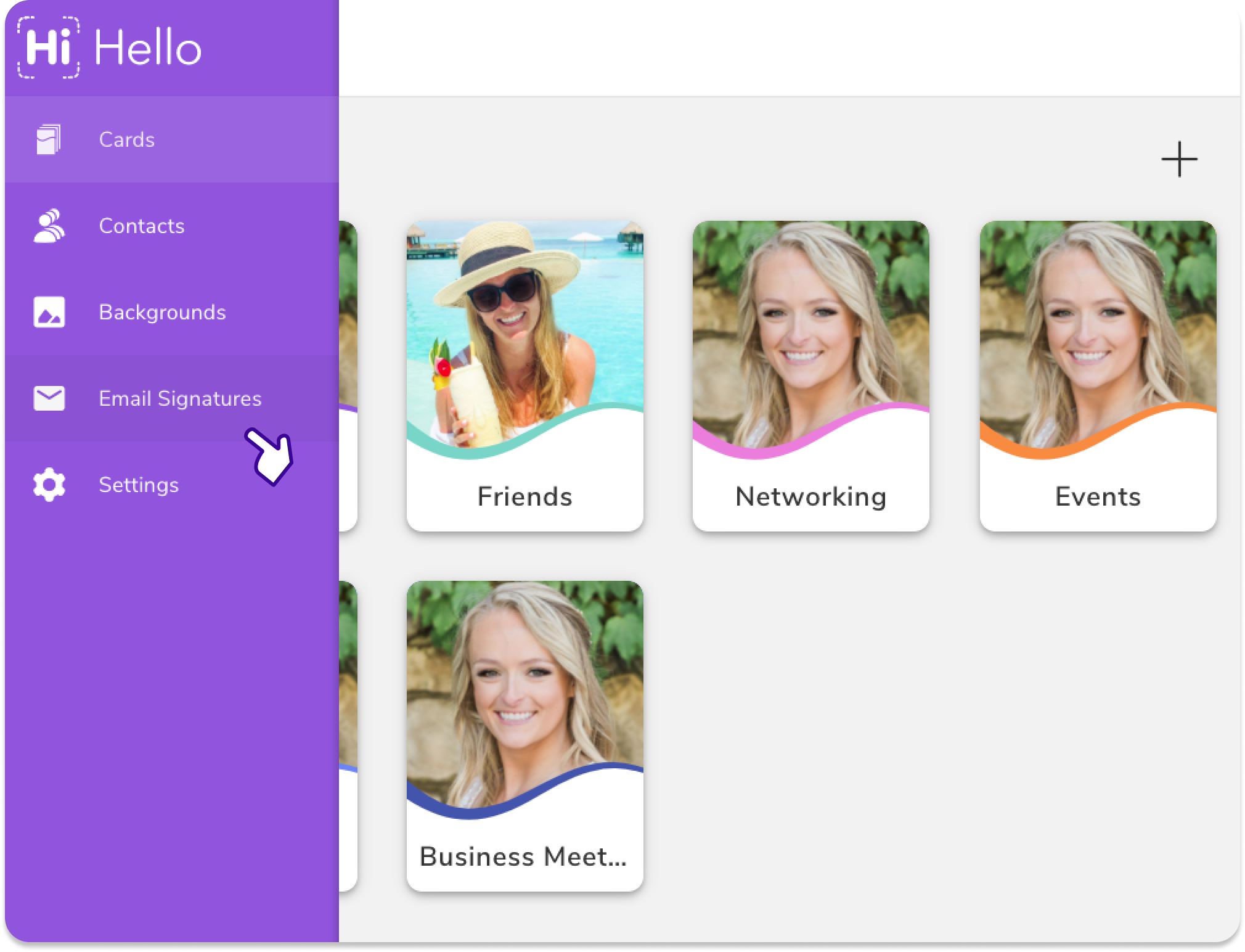 To create an email signature, log in to the HiHello web app and click Email Signatures