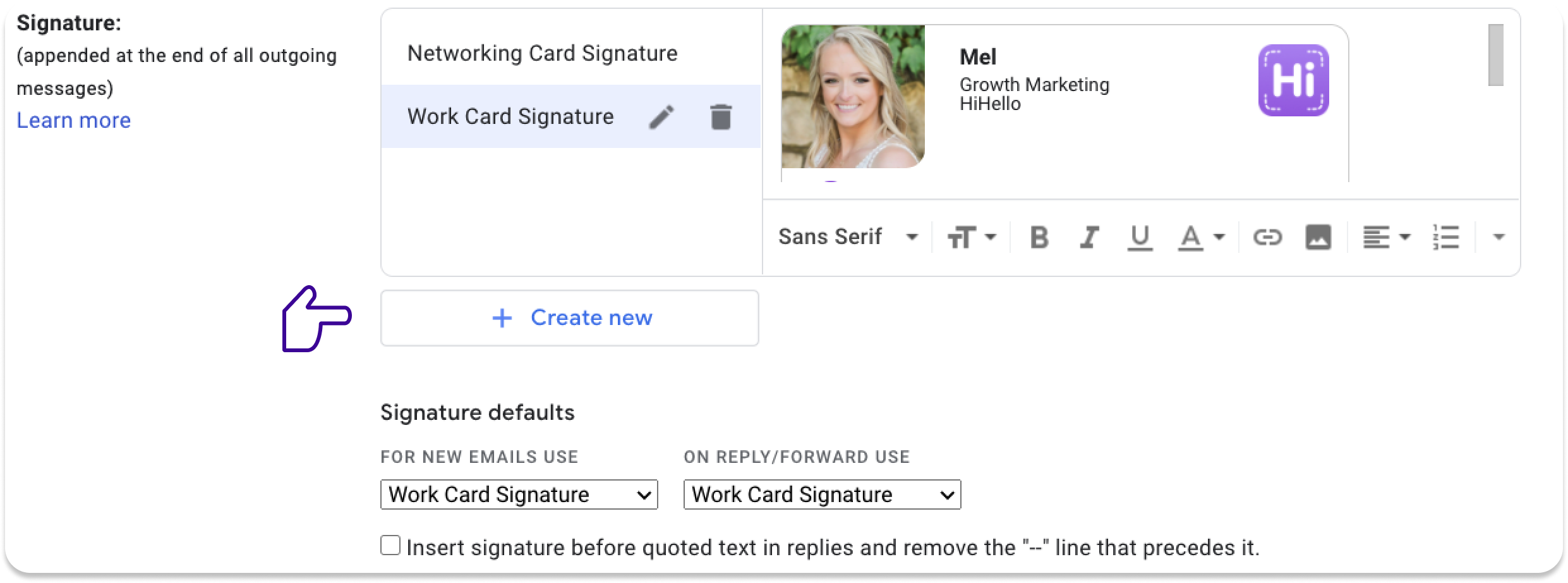 Paste your professional email signature into Gmail, Outlook, and more.