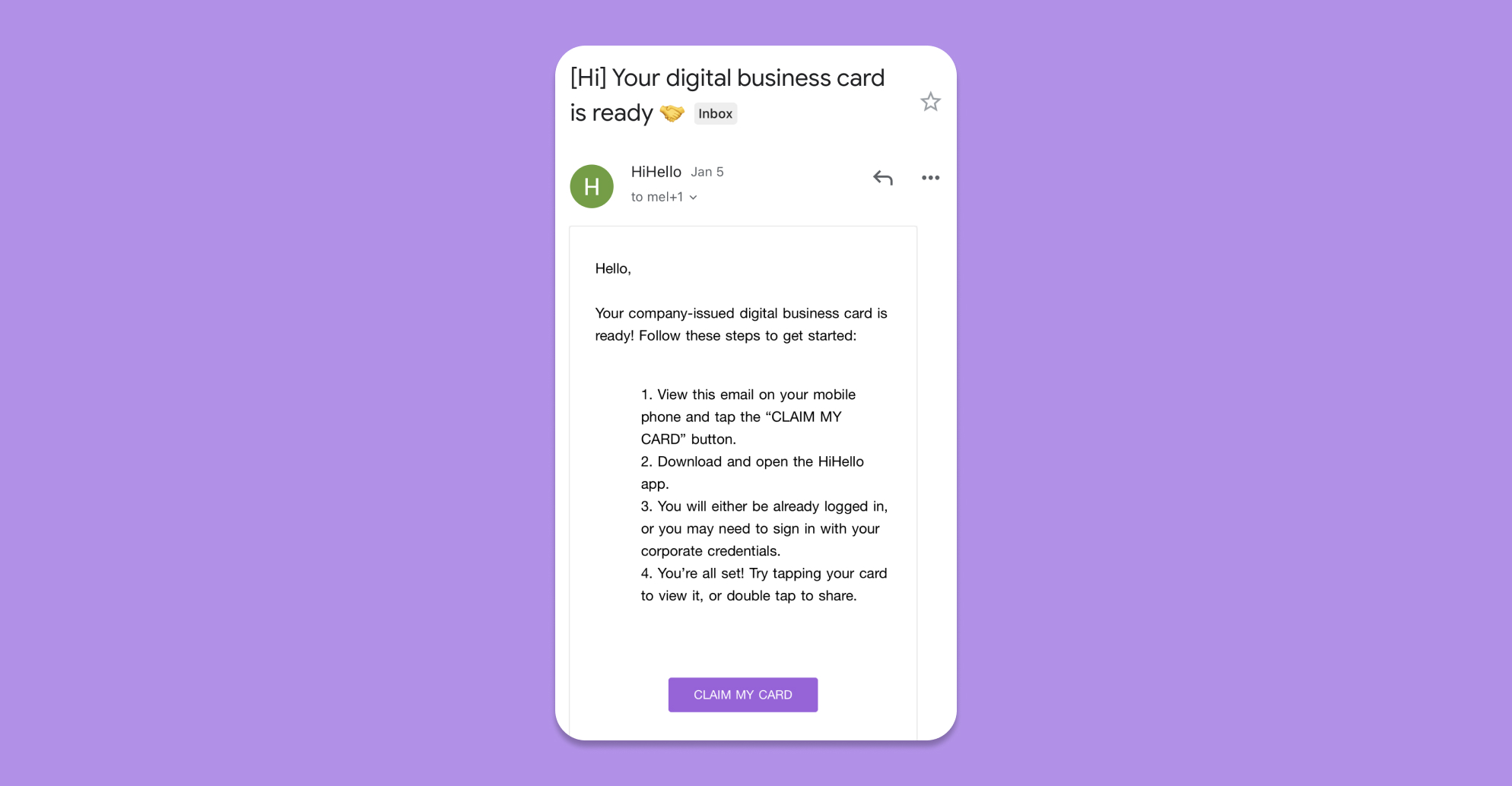 Click the Claim button to claim your HiHello business card via email