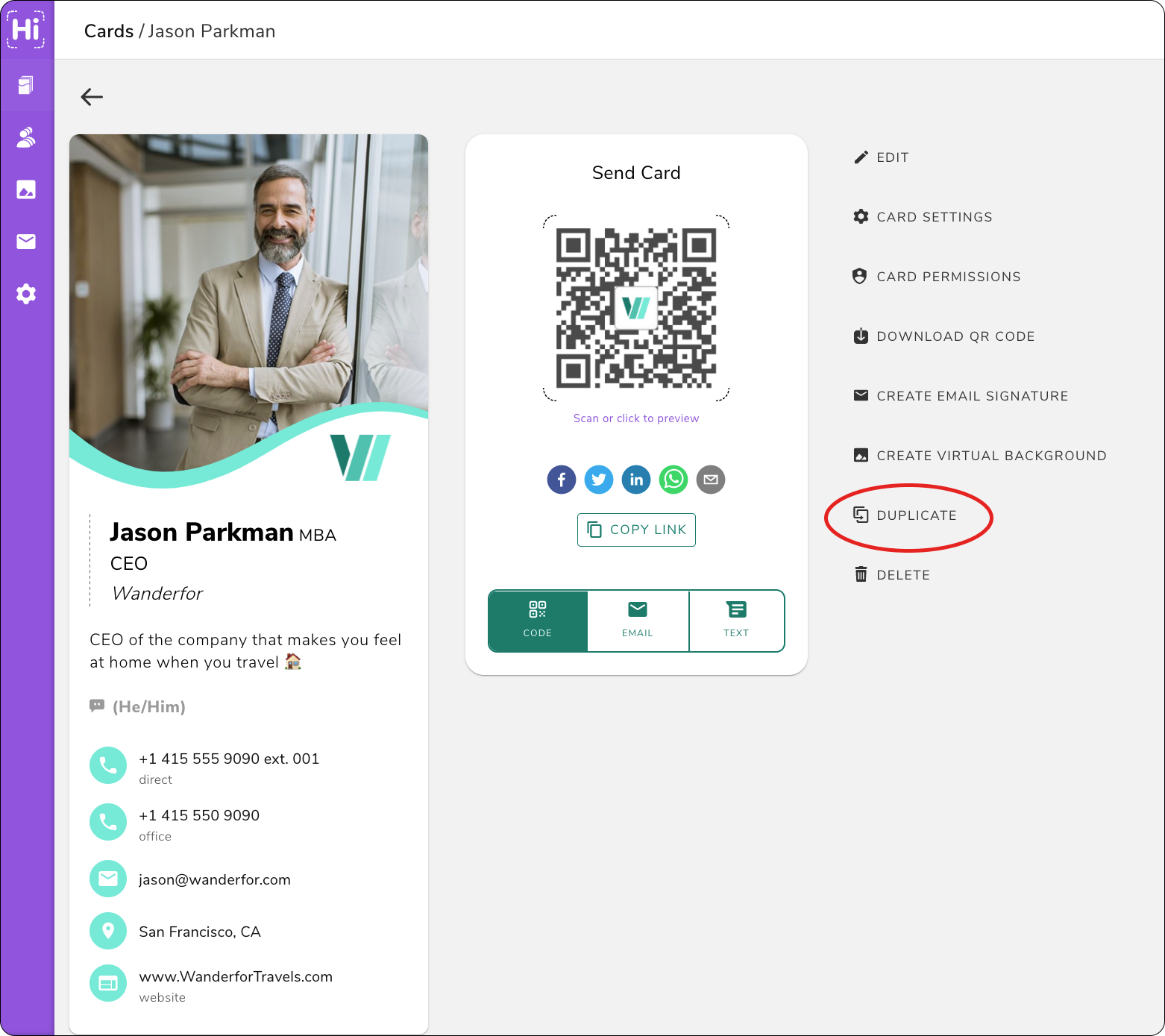 Save time making virtual cards for your employees by duplicating your digital business card on HiHello Business.