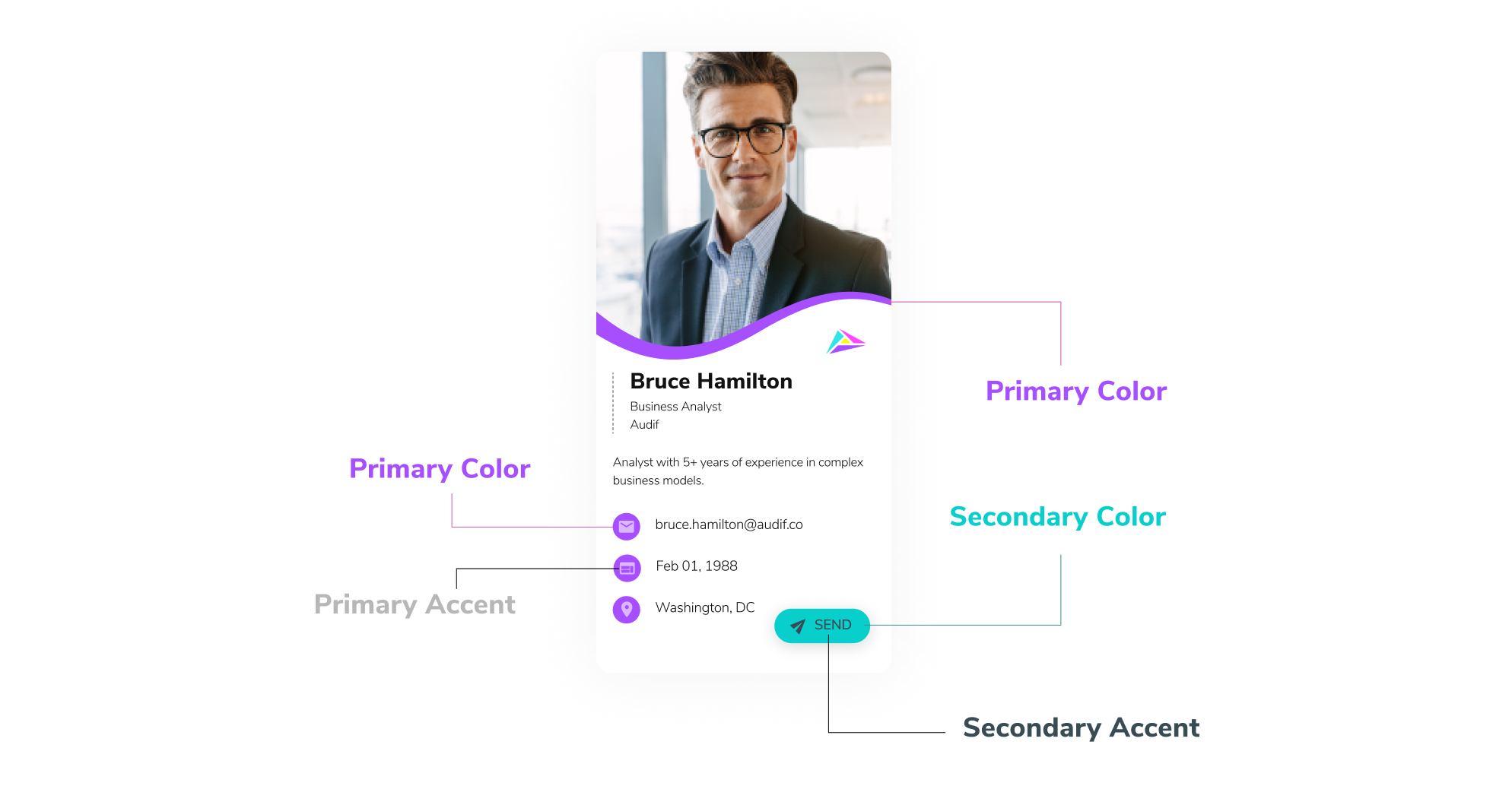 With HiHello Basic and HiHello Professional you can customize the colors on your digital business card.