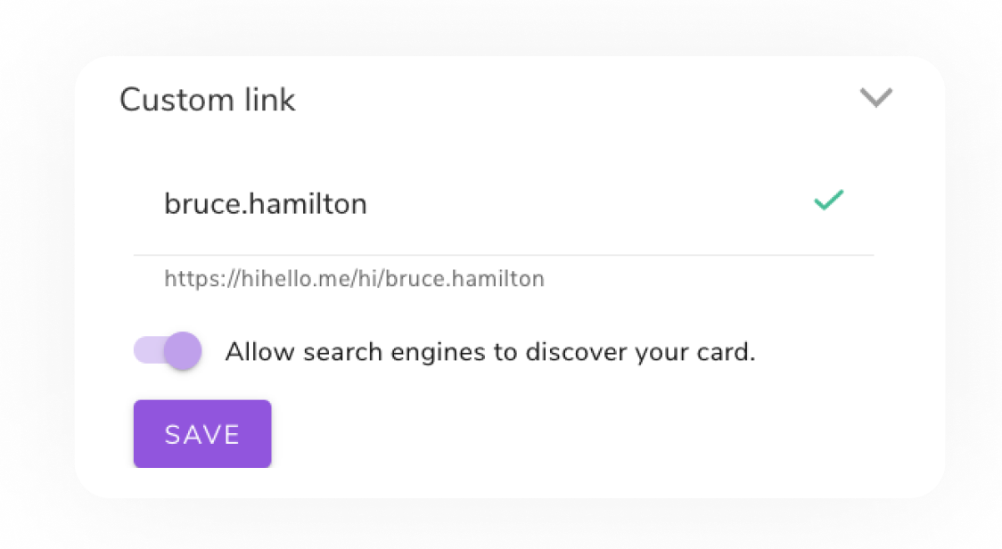 Create a custom link for your digital business card with HiHello Professional.