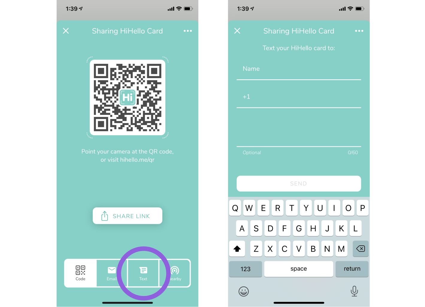 Text your digital business card to someone directly from within the HiHello app.