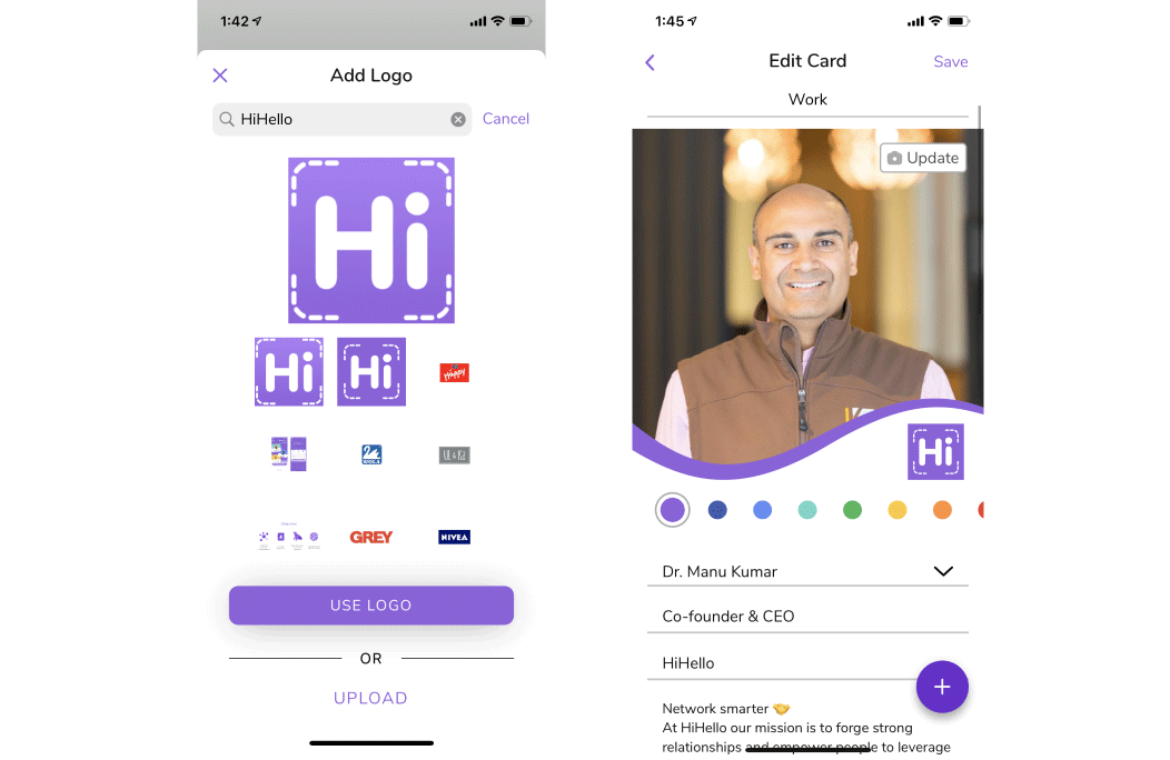 Add your company's logo to your digital business card using HiHello's logo search tool.