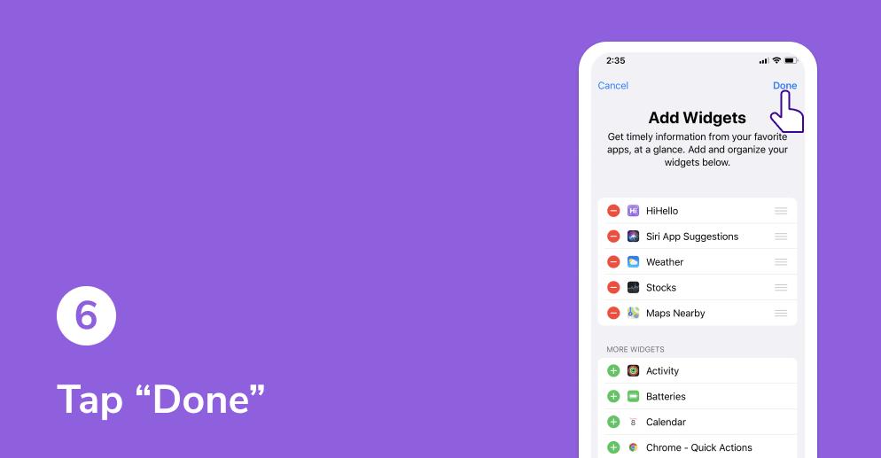 HiHello widget on iOS tutorial. Tap Done.