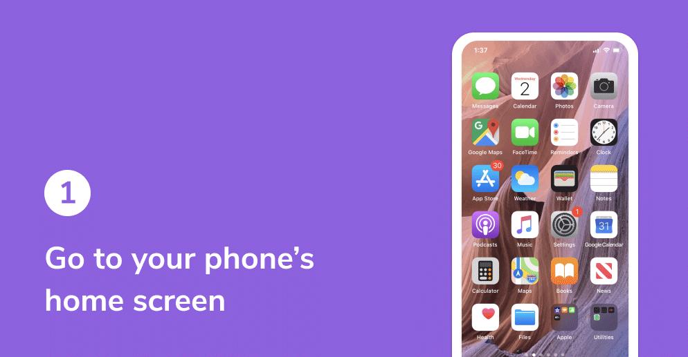 HiHello widget on iOS tutorial. Go to phone's home screen.