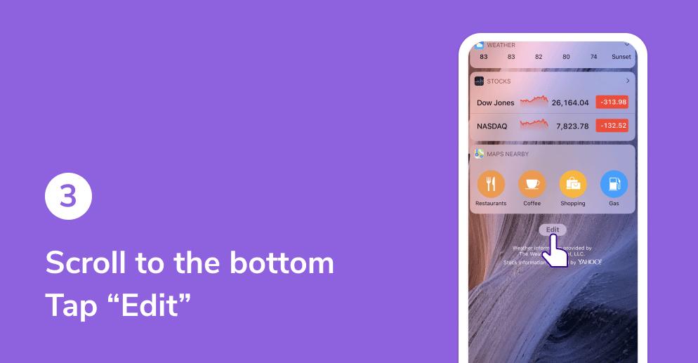 HiHello widget on iOS tutorial. Tap edit.