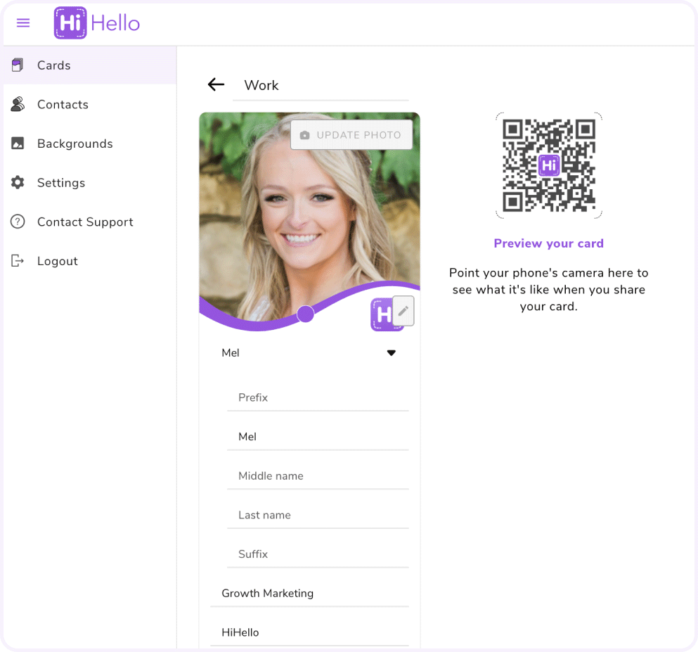 Edit your digital business card in the HiHello web app.