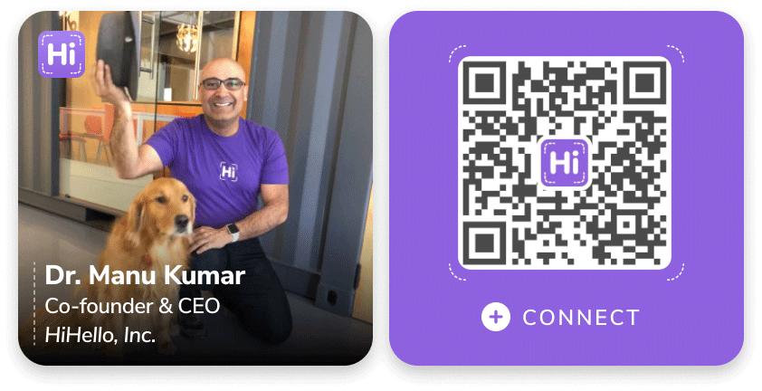 Dr. Manu Kumar's business card.