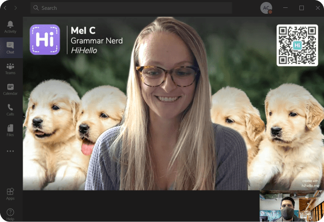 Custom virtual background for Microsoft teams with puppies and a QR code