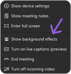 Show background effects in three dot menu in Microsoft Teams