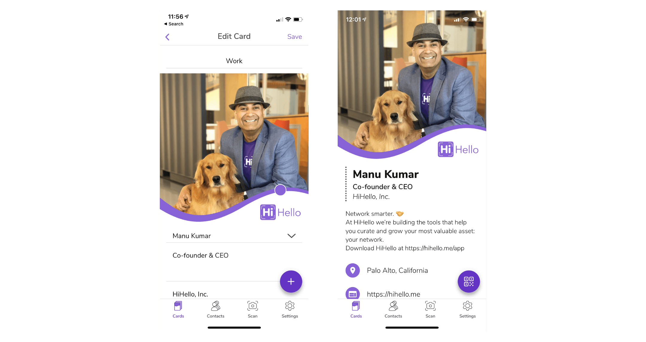 Add a company logo and a headline to your digital business card. Dr. Manu Kumar with his golden retriever dog.