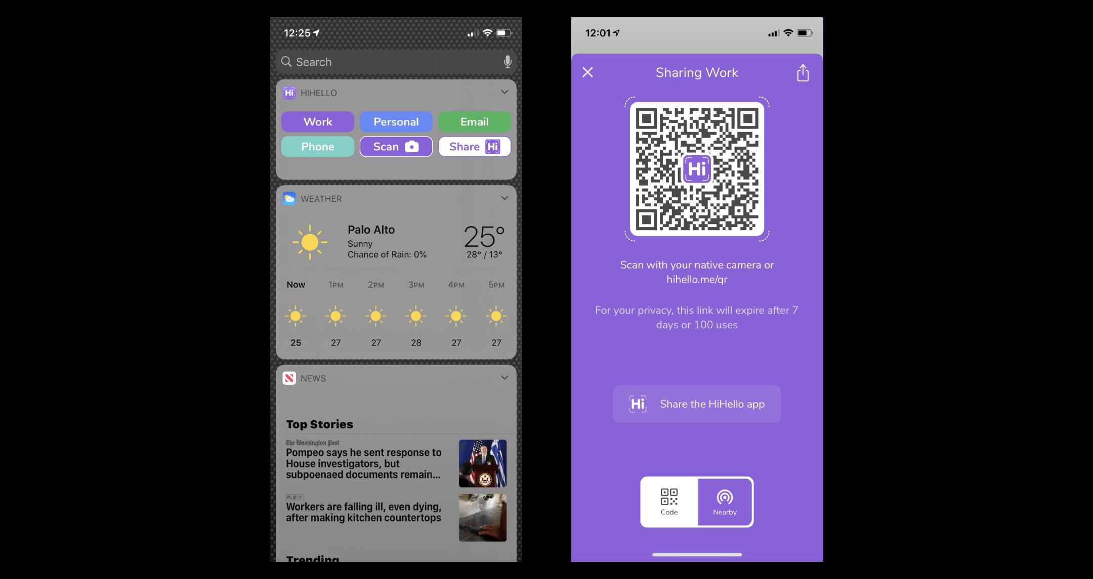 HiHello widget and QR code
