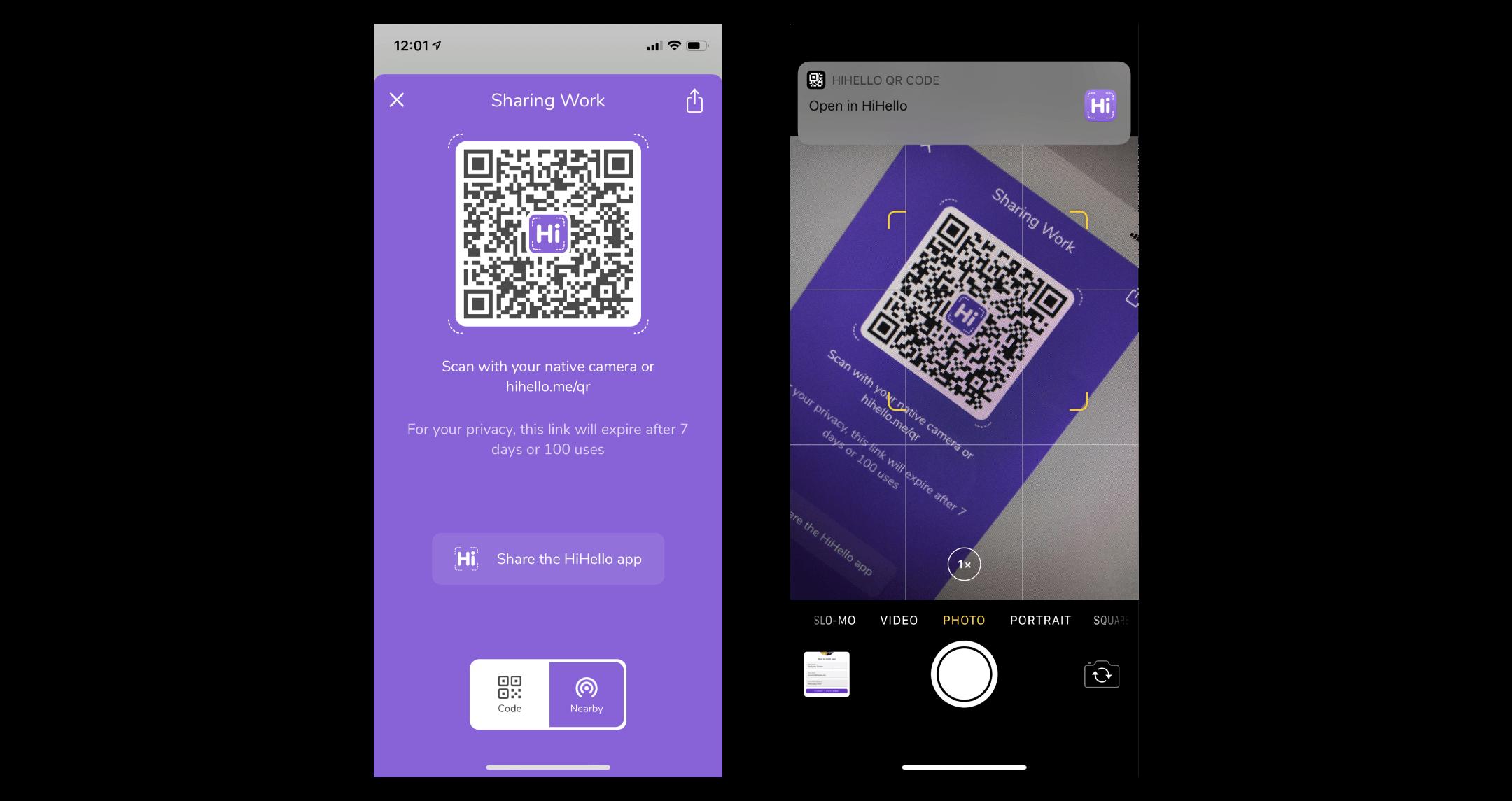 Phone scanning a HiHello QR code