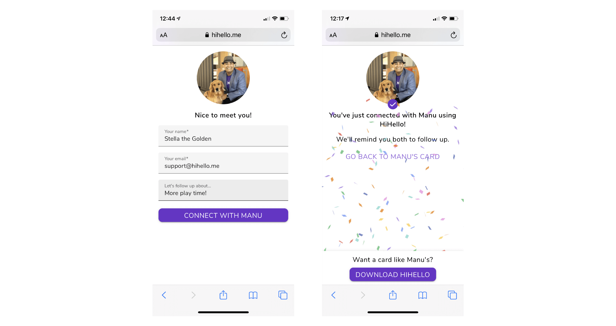 Sending a digital business card to someone