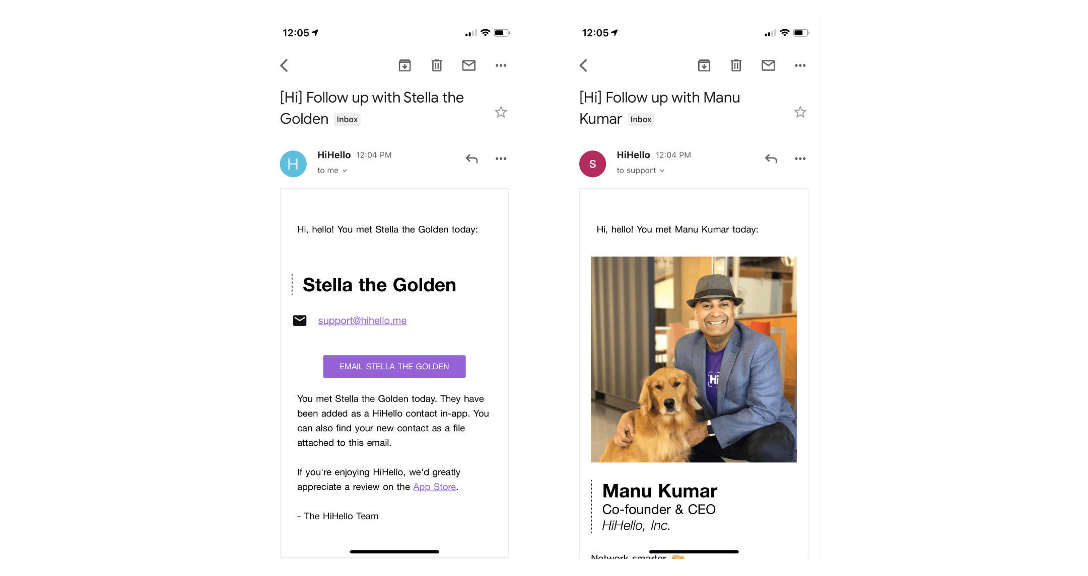 HiHello follow-up email