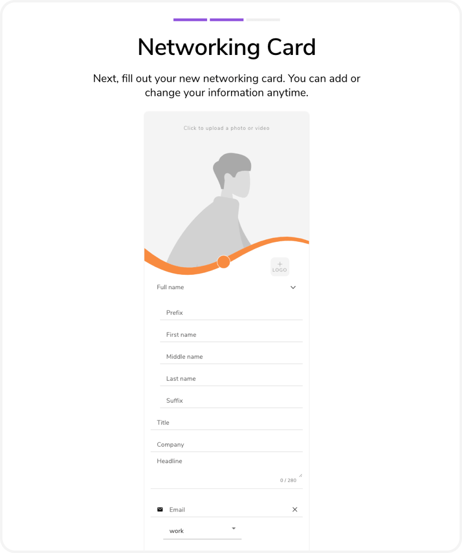 Create a digital business card. Fill in name, title, company, social media, and more on your virtual card.