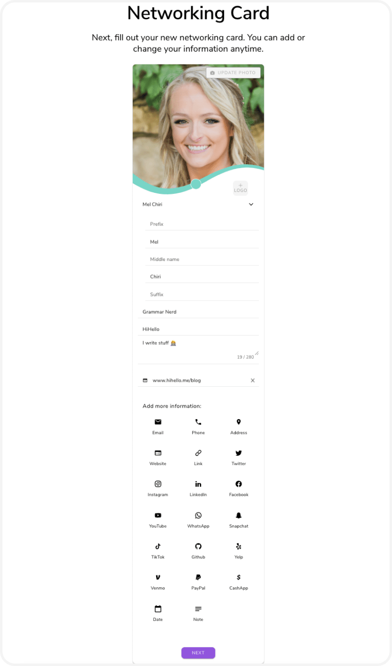Example of a filled out networking digital business card