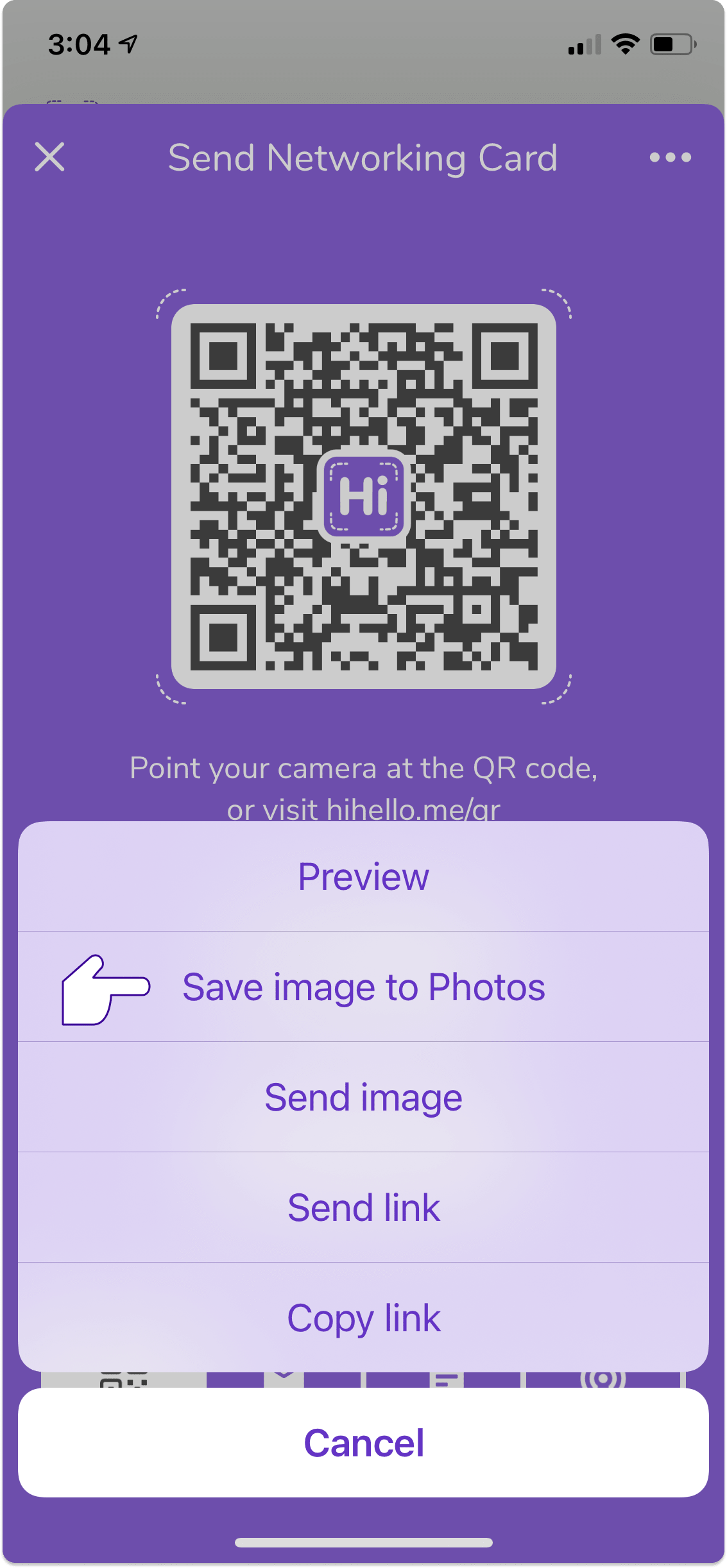 """To save your QR code on iOS, then tap """"Save image to Photos"""""""