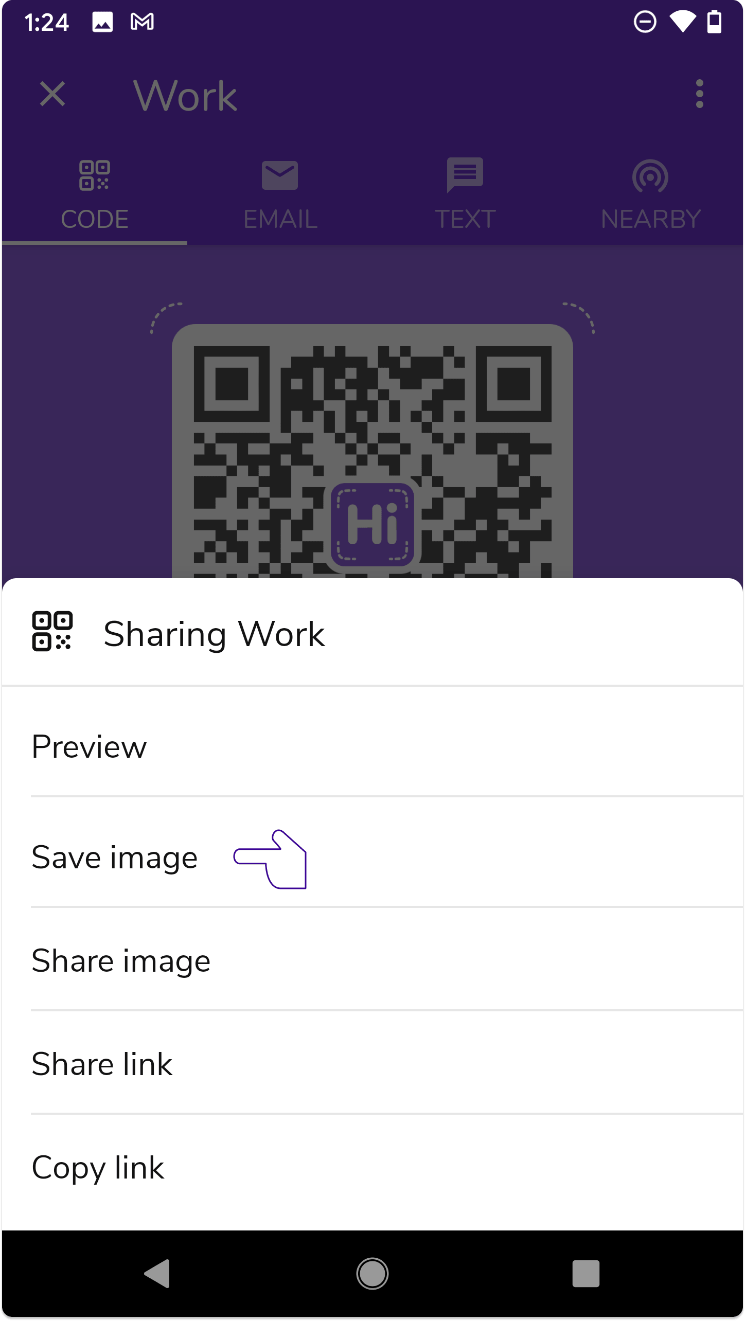 """Tap """"Save image"""" to save your QR code to your Android phone."""