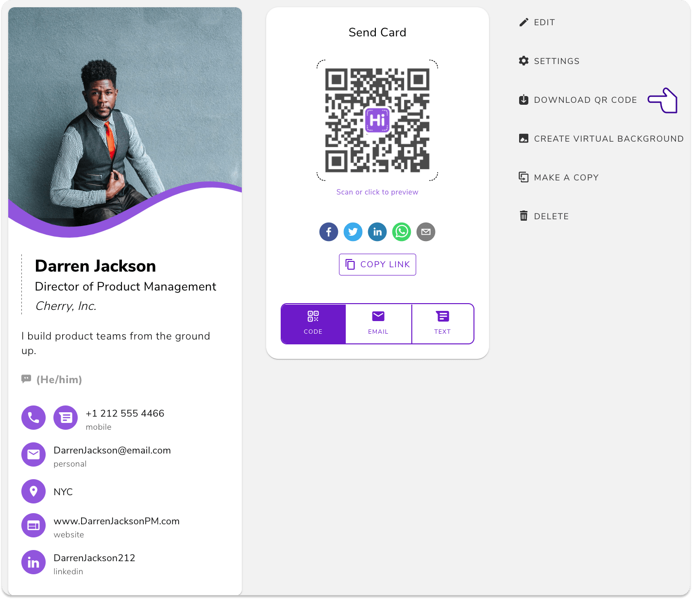 """Go to the web app, pick a business card, and click """"Download QR Code"""""""