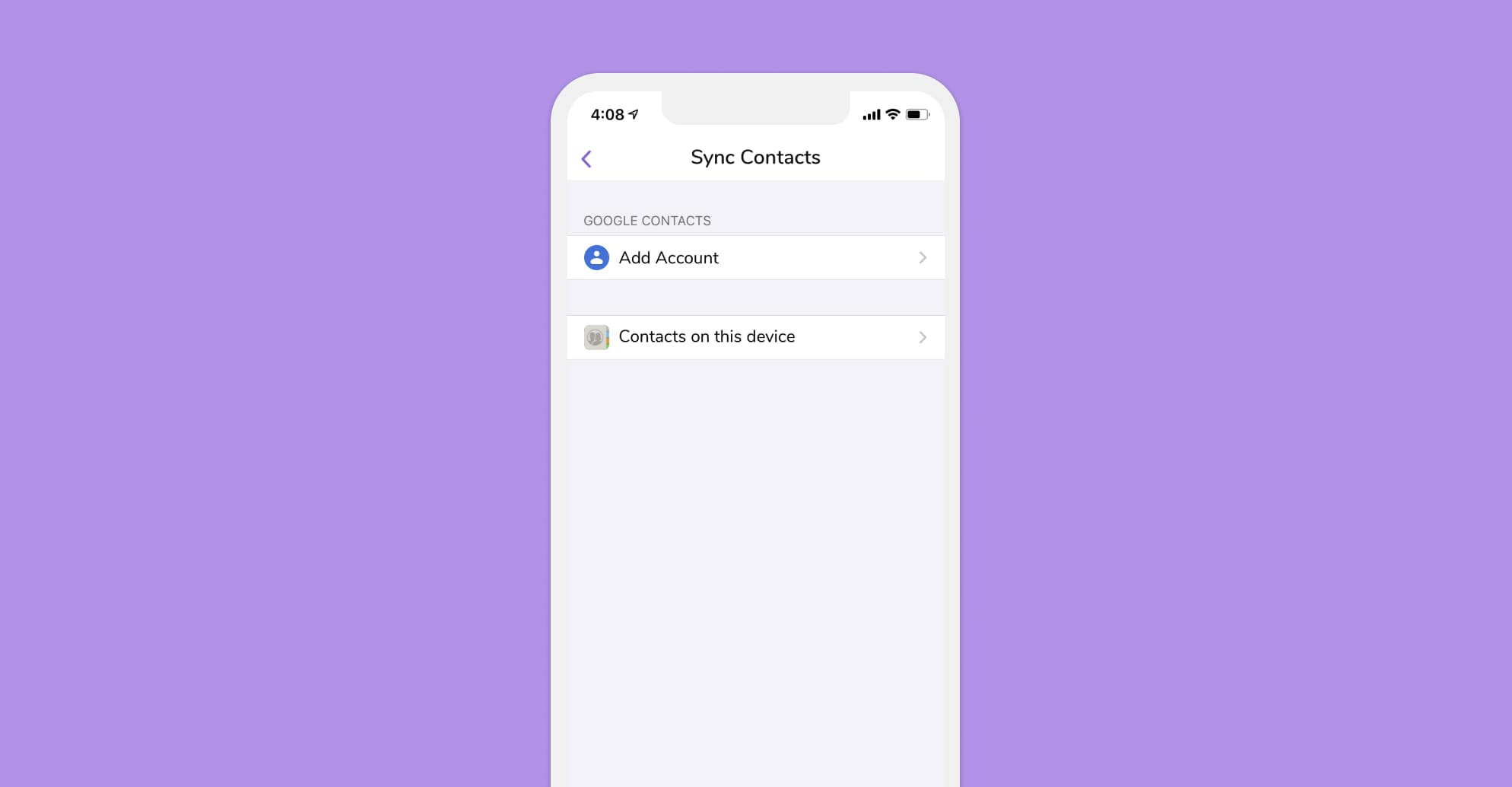 In your HiHello Settings you can add a Google account to sync your contacts with.