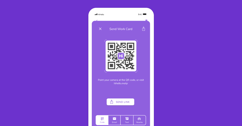 To share your HiHello digital business card, pull up the Send screen