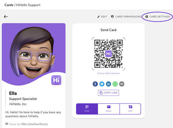 Click your digital business card and go to Card Settings